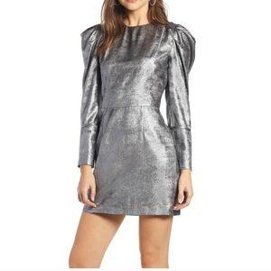 Something Navy Metallic Puff Sleeve Dress
